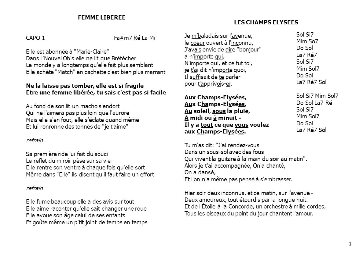 FEMME LIBEREECAPO 1 Fa#m7 Ré La Mi.