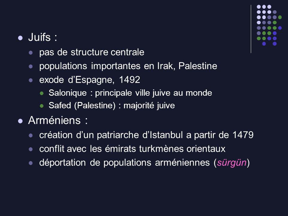 Juifs : Arméniens : pas de structure centrale