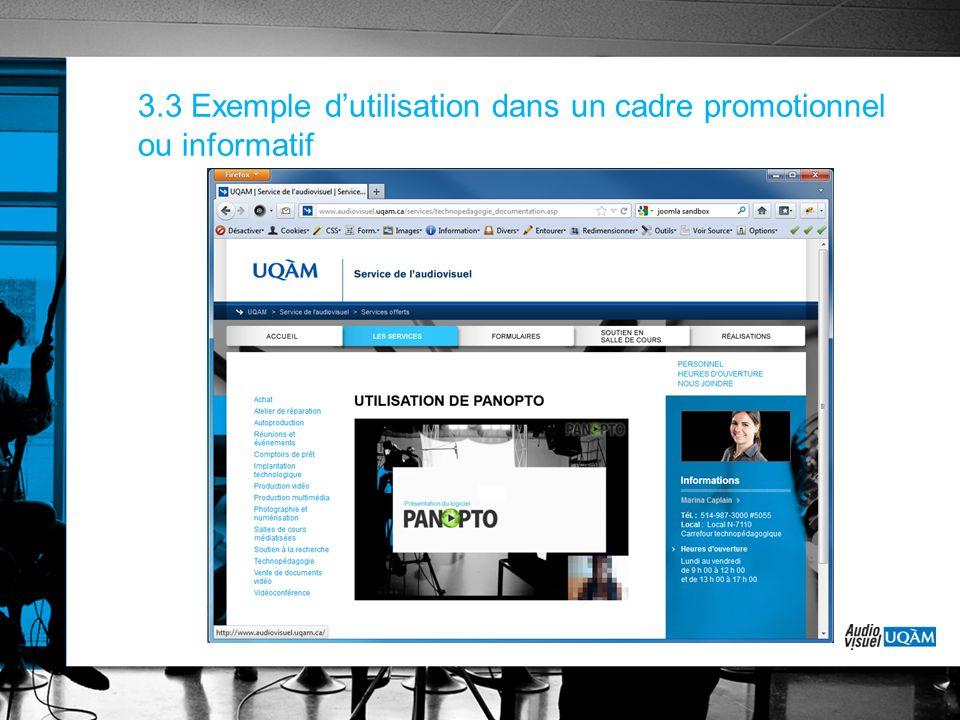 3.3 Exemple d'utilisation dans un cadre promotionnel ou informatif