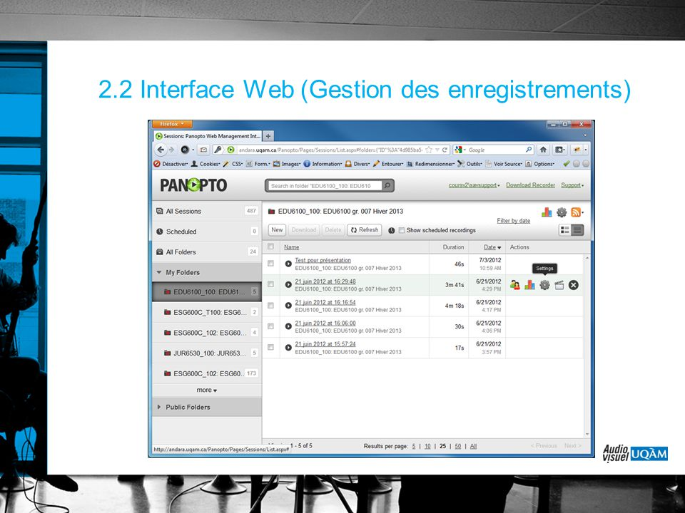 2.2 Interface Web (Gestion des enregistrements)