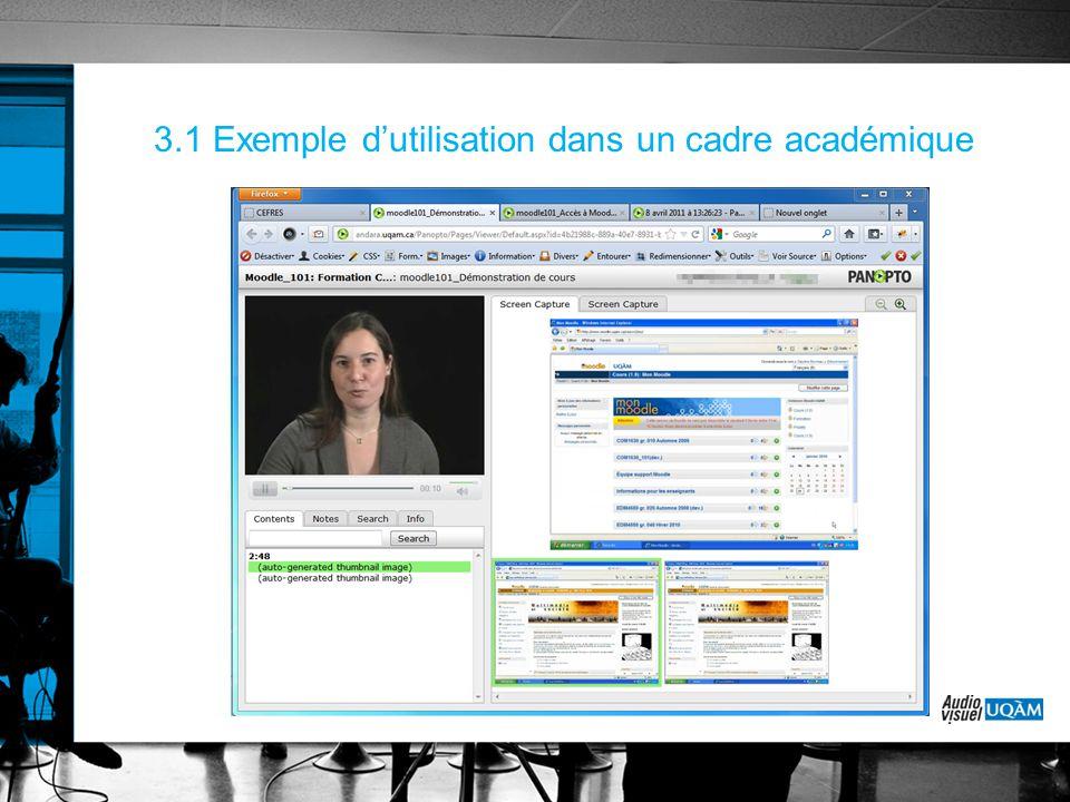 3.1 Exemple d'utilisation dans un cadre académique