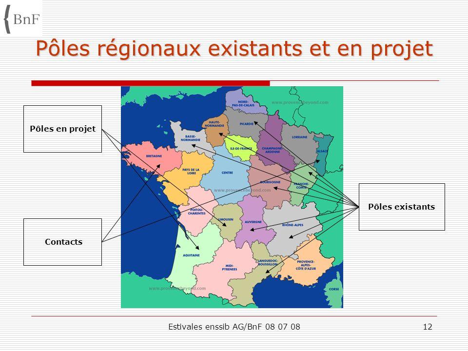 Pôles régionaux existants et en projet