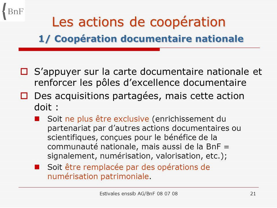 Les actions de coopération 1/ Coopération documentaire nationale