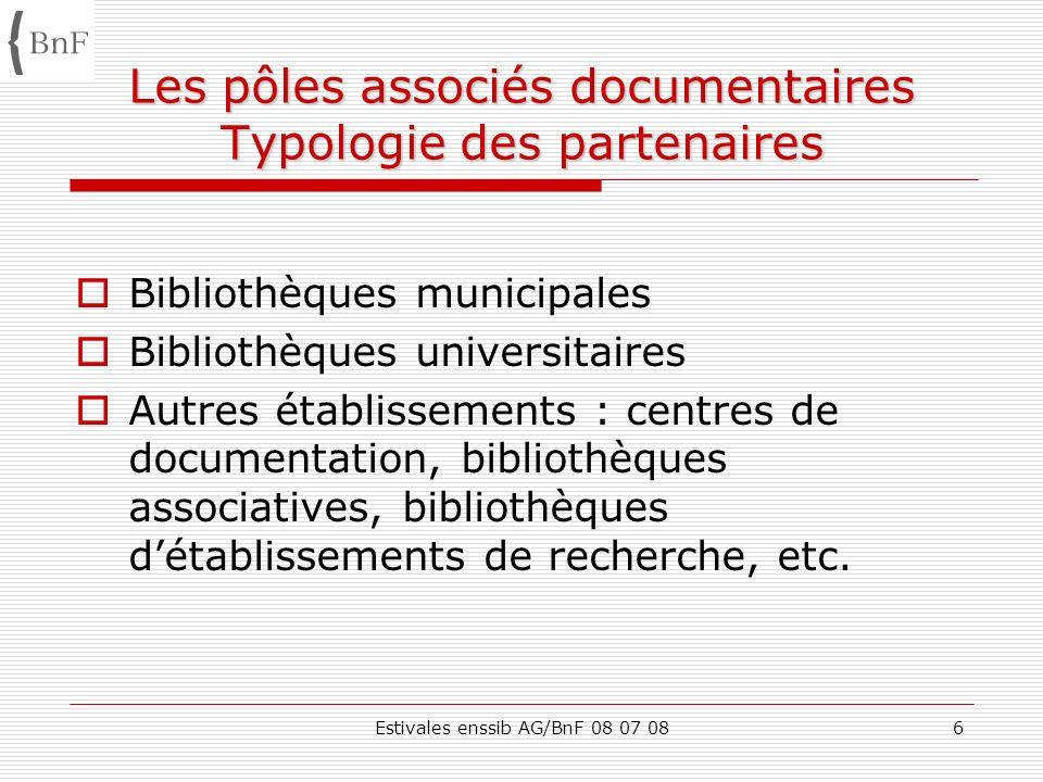 Les pôles associés documentaires Typologie des partenaires