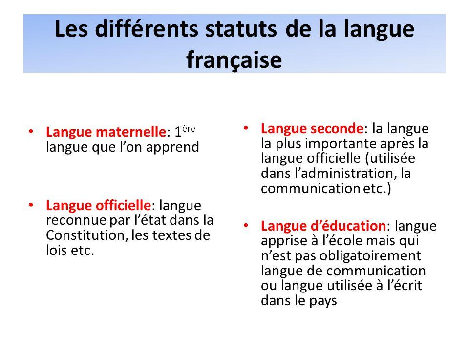 Les différents statuts de la langue française