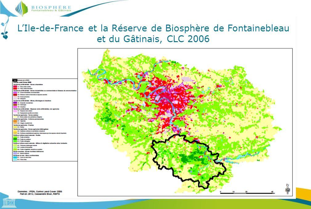 L'Ile-de-France et la Réserve de Biosphère de Fontainebleau et du Gâtinais, CLC 2006