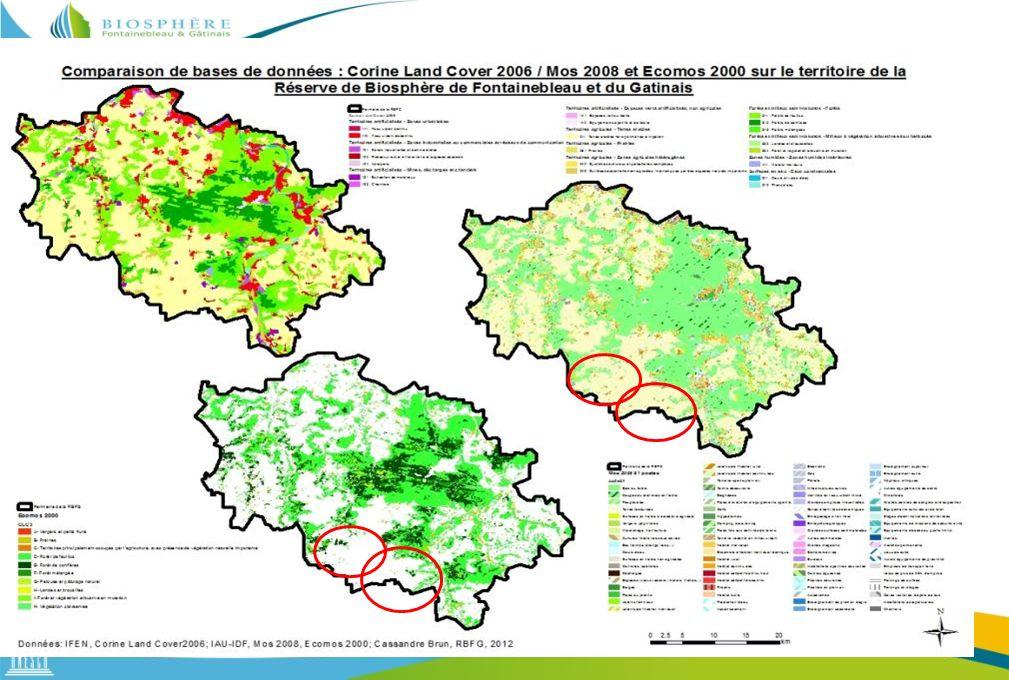 Si nous avons utilisé CLC pour la RBFG, à l'échelle des communes nous avons choisit le Mos et Ecomos qui sont plus précis, notamment en ce qui concerne les habitats boisés qui permet un détail des formations végétales.