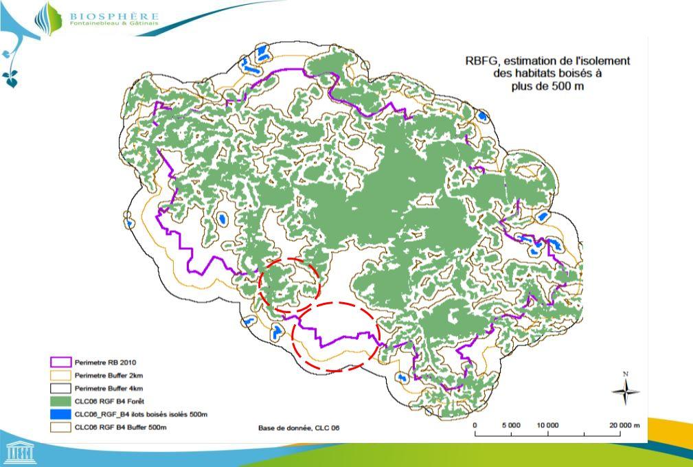 Ainsi à partir de l'étude l'isolement présenté par la carte suivante nous avons pu déterminer qu'une distance de 500 m permettait d'agréger la majorité des habitats boisés entre eux.