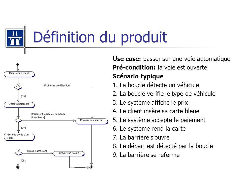 Définition du produit Use case: passer sur une voie automatique
