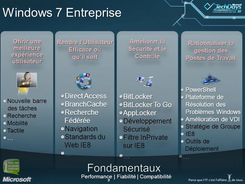 Windows 7 Entreprise Fondamentaux Direct Access BitLocker BranchCache