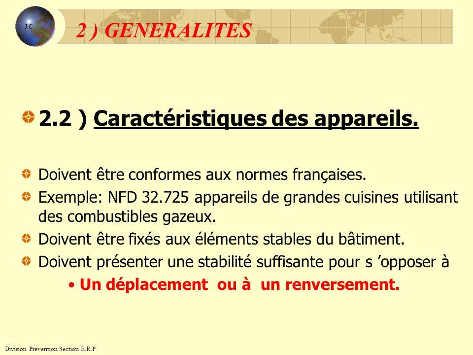 2.2 ) Caractéristiques des appareils.