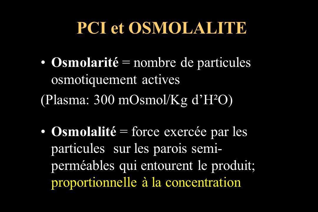 PCI et OSMOLALITE Osmolarité = nombre de particules osmotiquement actives. (Plasma: 300 mOsmol/Kg d'H²O)