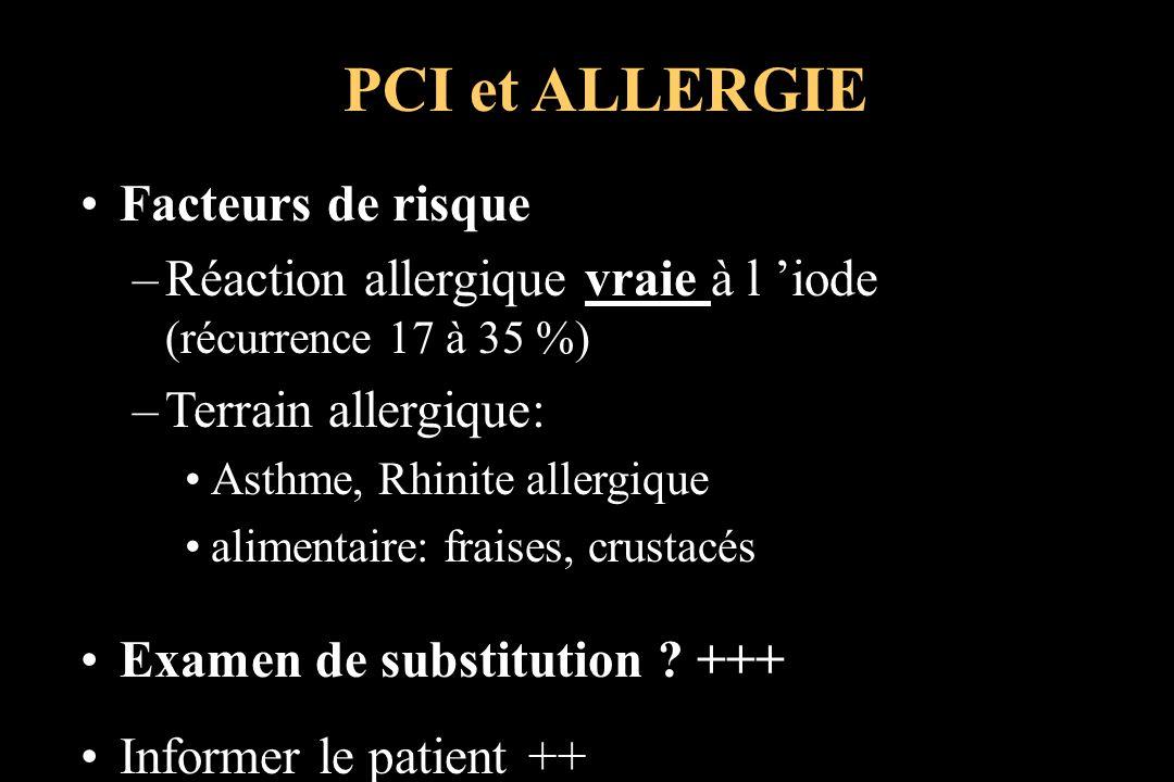 PCI et ALLERGIE Facteurs de risque
