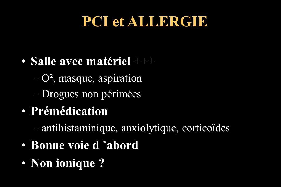 PCI et ALLERGIE Salle avec matériel +++ Prémédication