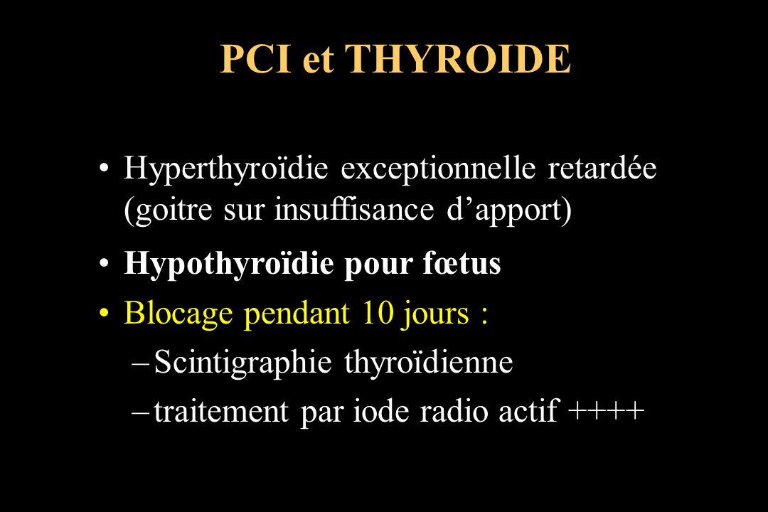 PCI et THYROIDE Hyperthyroïdie exceptionnelle retardée (goitre sur insuffisance d'apport) Hypothyroïdie pour fœtus.