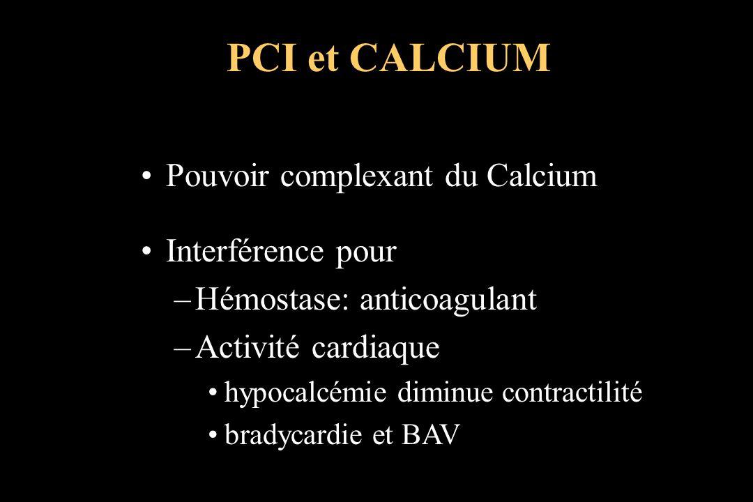 PCI et CALCIUM Pouvoir complexant du Calcium Interférence pour