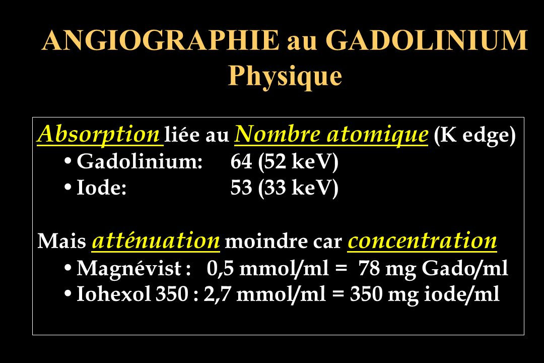 ANGIOGRAPHIE au GADOLINIUM