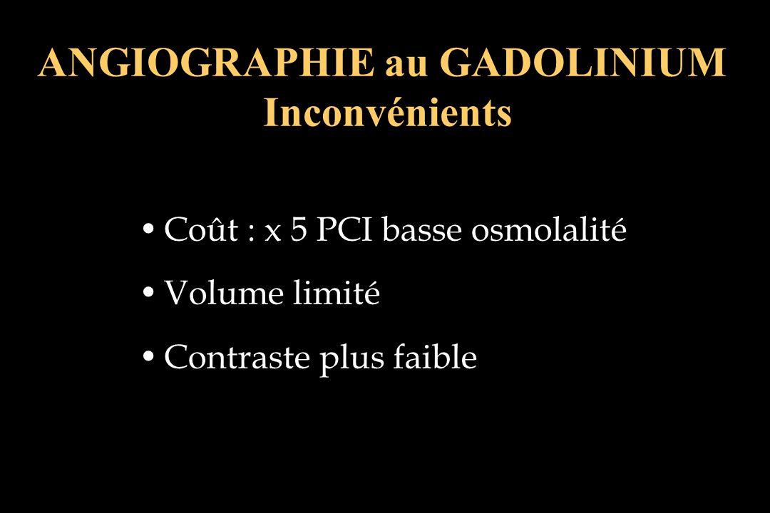 ANGIOGRAPHIE au GADOLINIUM Inconvénients