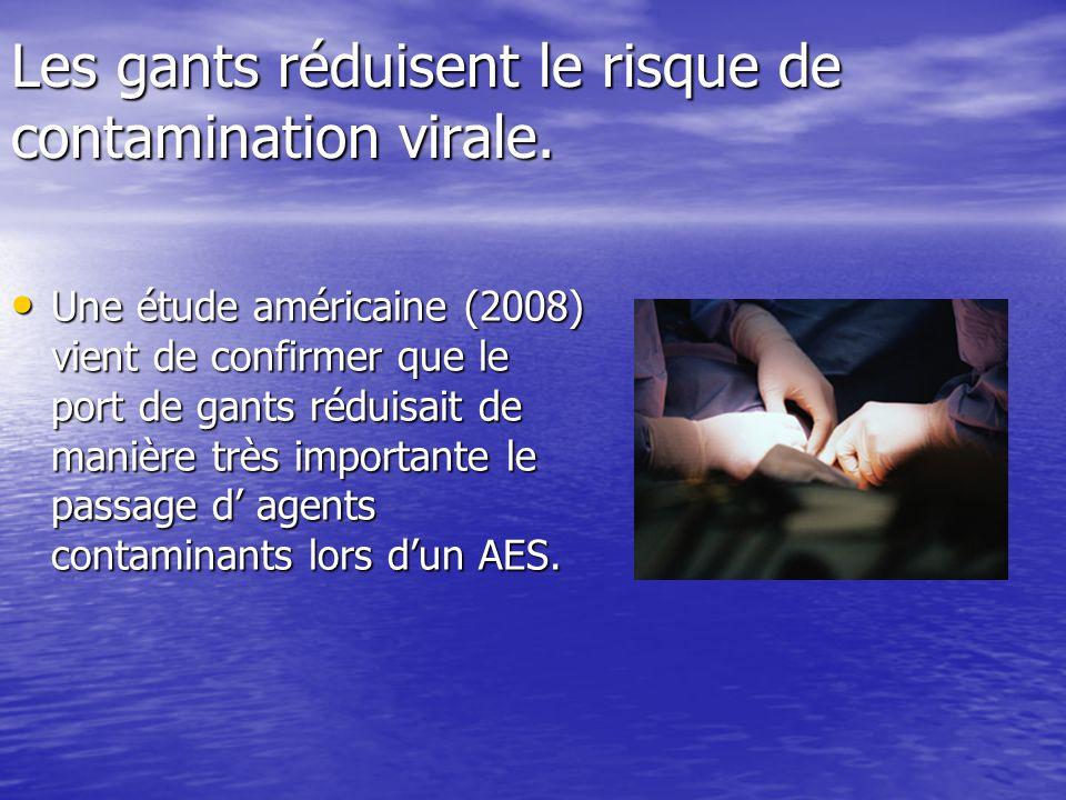Les gants réduisent le risque de contamination virale.