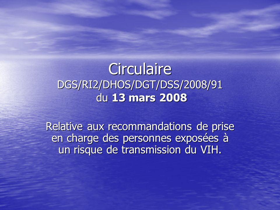 Circulaire DGS/RI2/DHOS/DGT/DSS/2008/91 du 13 mars 2008