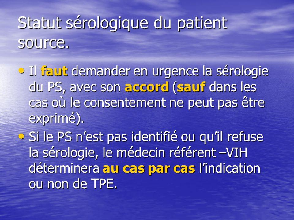 Statut sérologique du patient source.