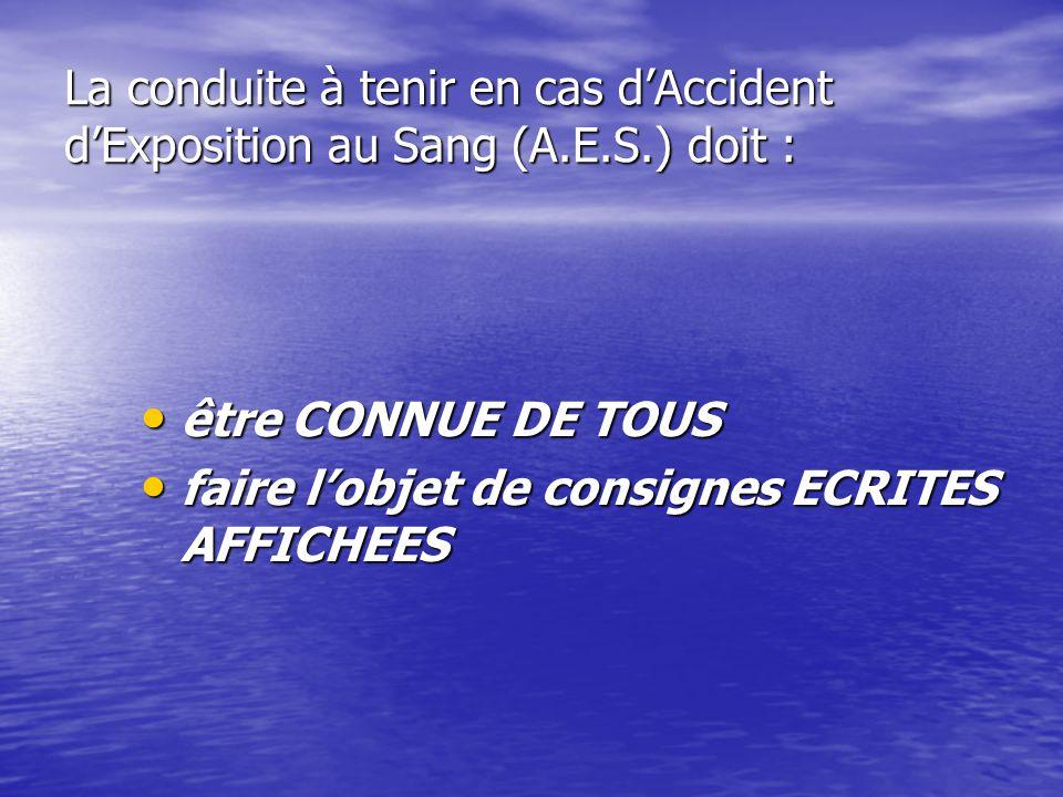 La conduite à tenir en cas d'Accident d'Exposition au Sang (A. E. S