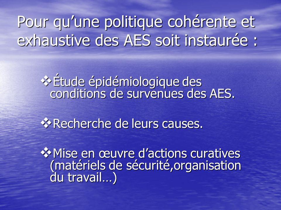 Pour qu'une politique cohérente et exhaustive des AES soit instaurée :