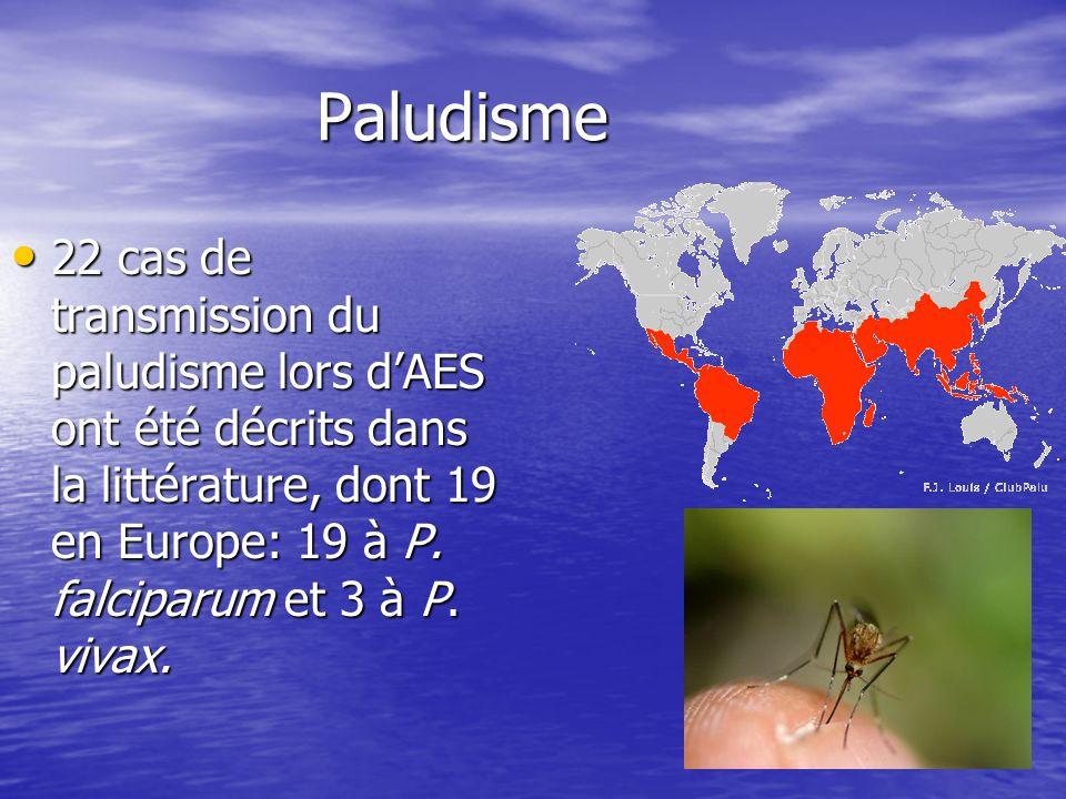 Paludisme 22 cas de transmission du paludisme lors d'AES ont été décrits dans la littérature, dont 19 en Europe: 19 à P.