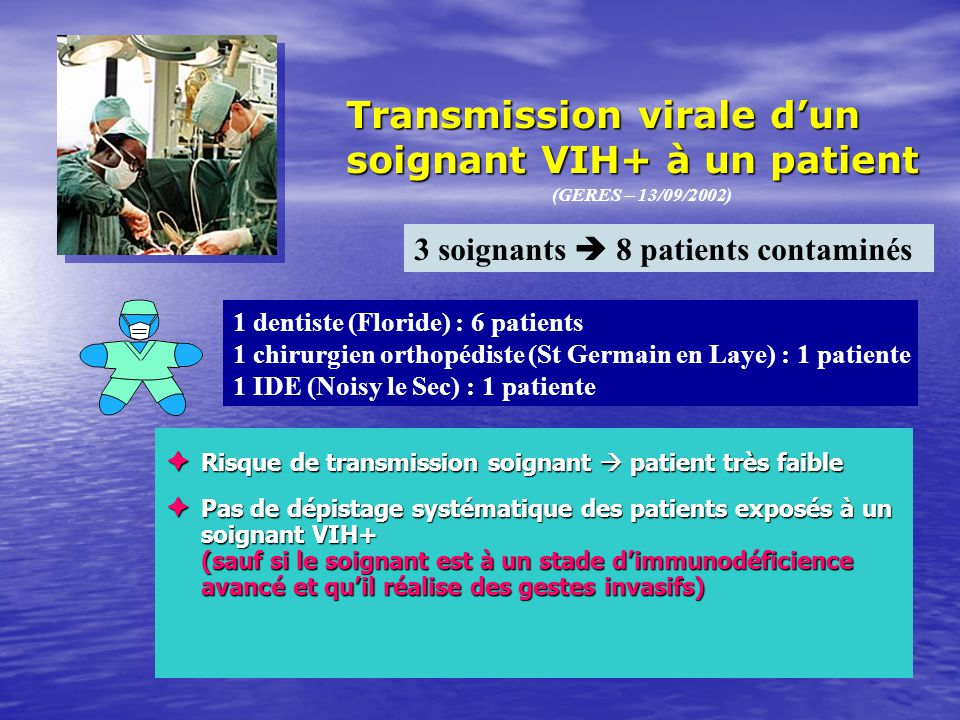 Transmission virale d'un soignant VIH+ à un patient