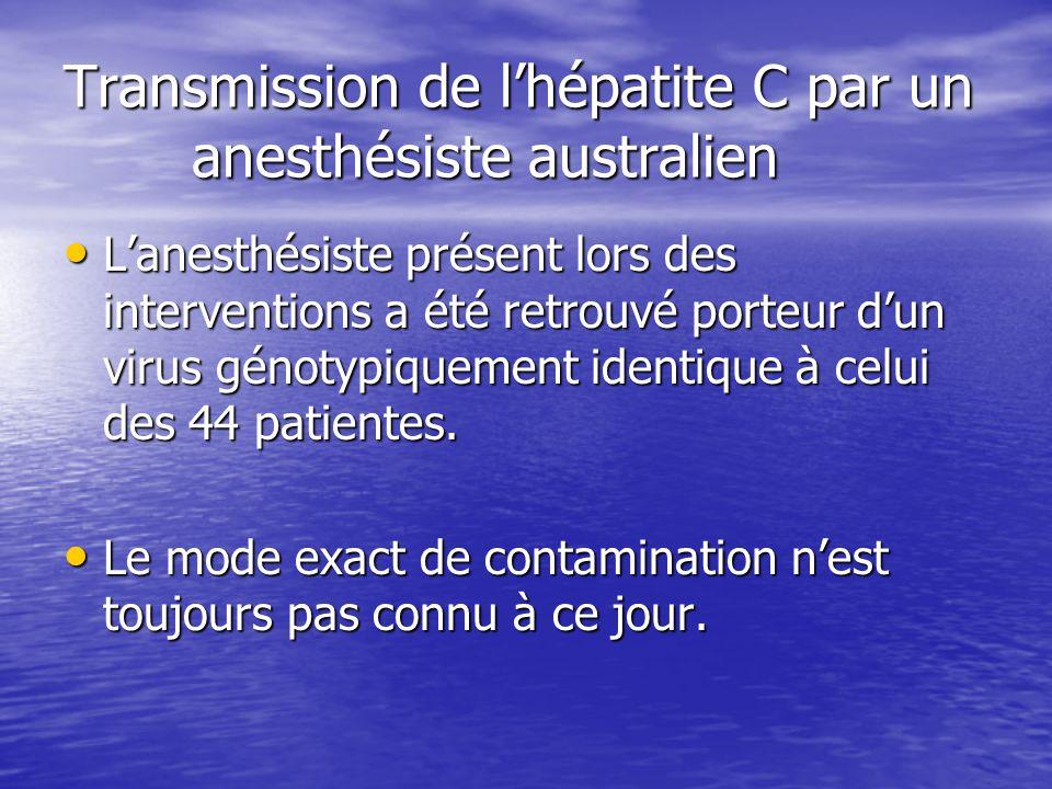 Transmission de l'hépatite C par un anesthésiste australien