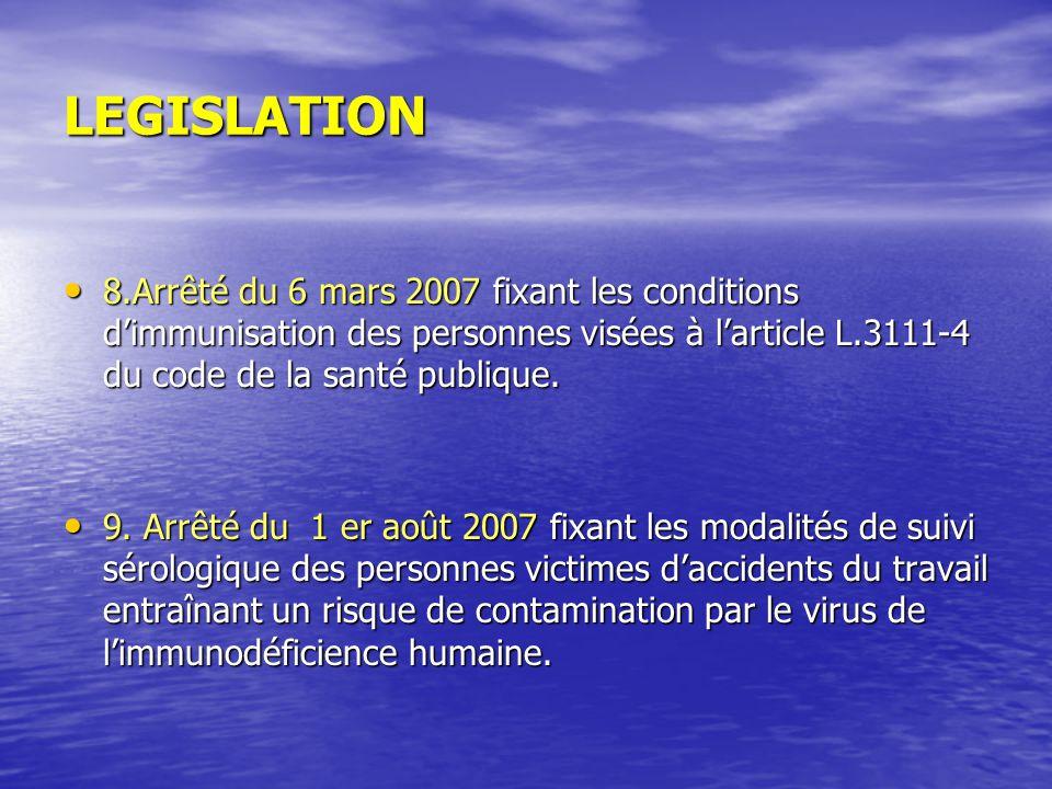 LEGISLATION 8.Arrêté du 6 mars 2007 fixant les conditions d'immunisation des personnes visées à l'article L.3111-4 du code de la santé publique.