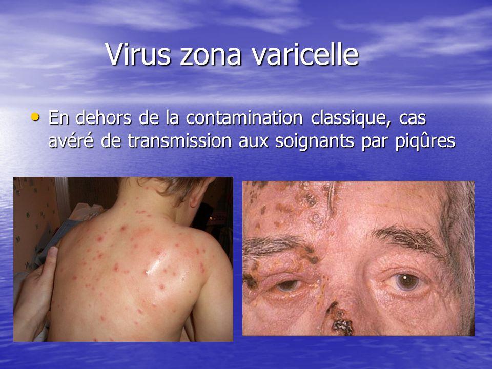 Virus zona varicelle En dehors de la contamination classique, cas avéré de transmission aux soignants par piqûres.