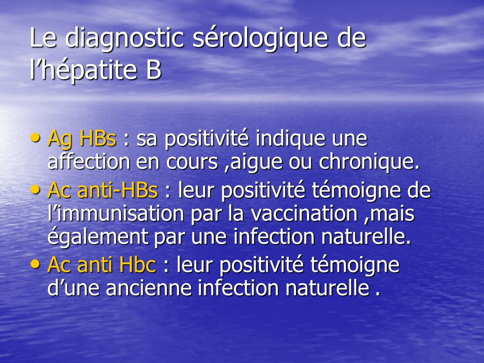 Le diagnostic sérologique de l'hépatite B