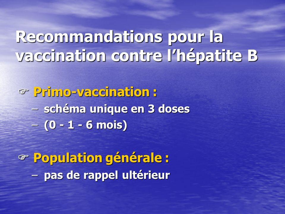 Recommandations pour la vaccination contre l'hépatite B