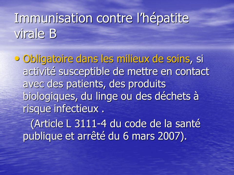 Immunisation contre l'hépatite virale B