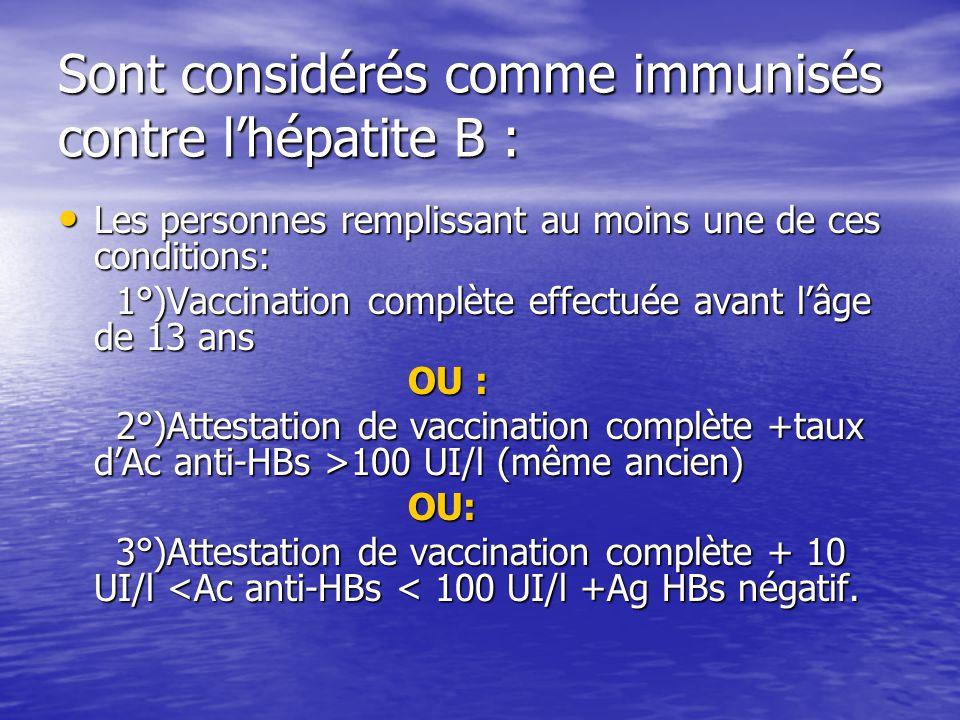 Sont considérés comme immunisés contre l'hépatite B :