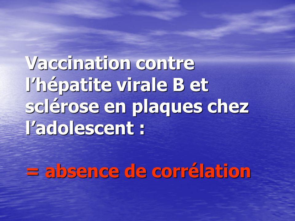 Vaccination contre l'hépatite virale B et sclérose en plaques chez l'adolescent : = absence de corrélation