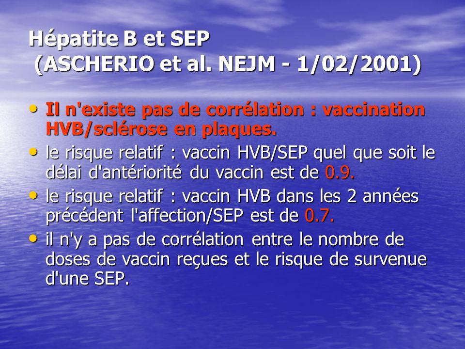 Hépatite B et SEP (ASCHERIO et al. NEJM - 1/02/2001)