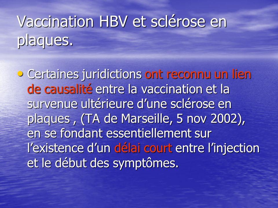 Vaccination HBV et sclérose en plaques.