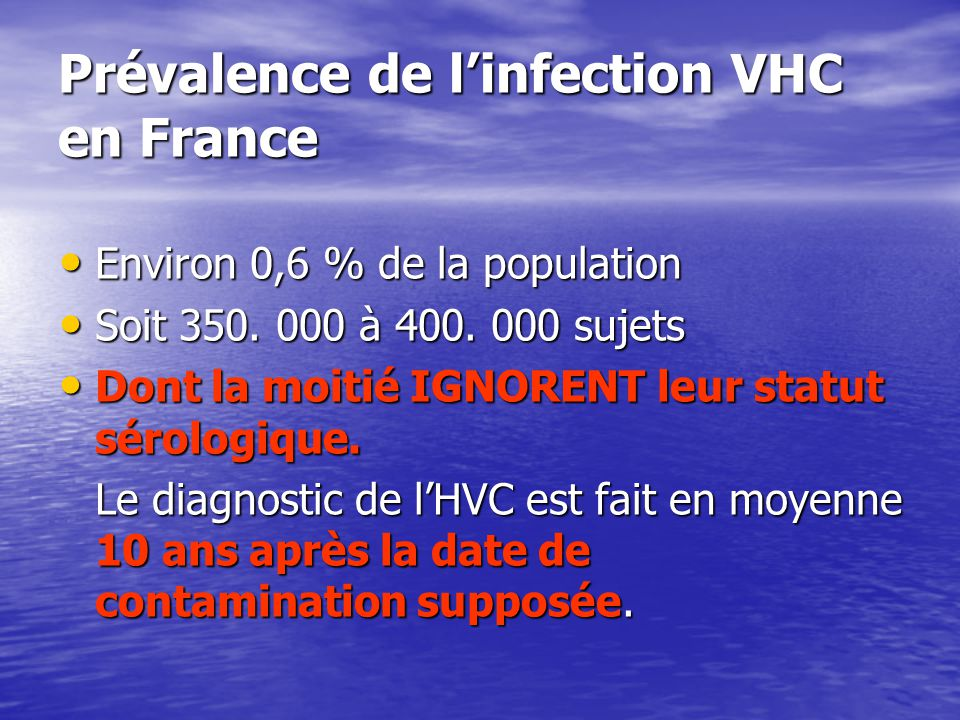 Prévalence de l'infection VHC en France