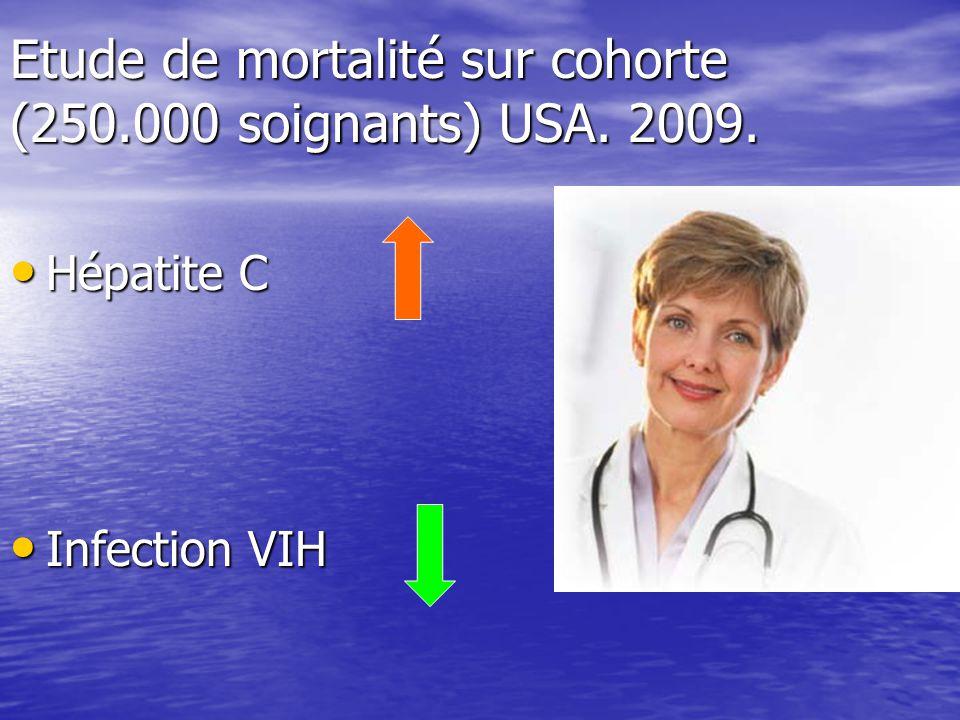 Etude de mortalité sur cohorte (250.000 soignants) USA. 2009.