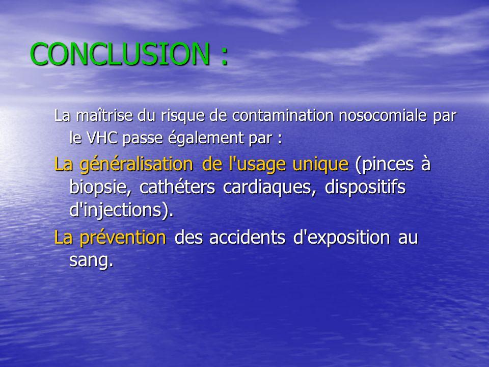 CONCLUSION : La maîtrise du risque de contamination nosocomiale par le VHC passe également par :