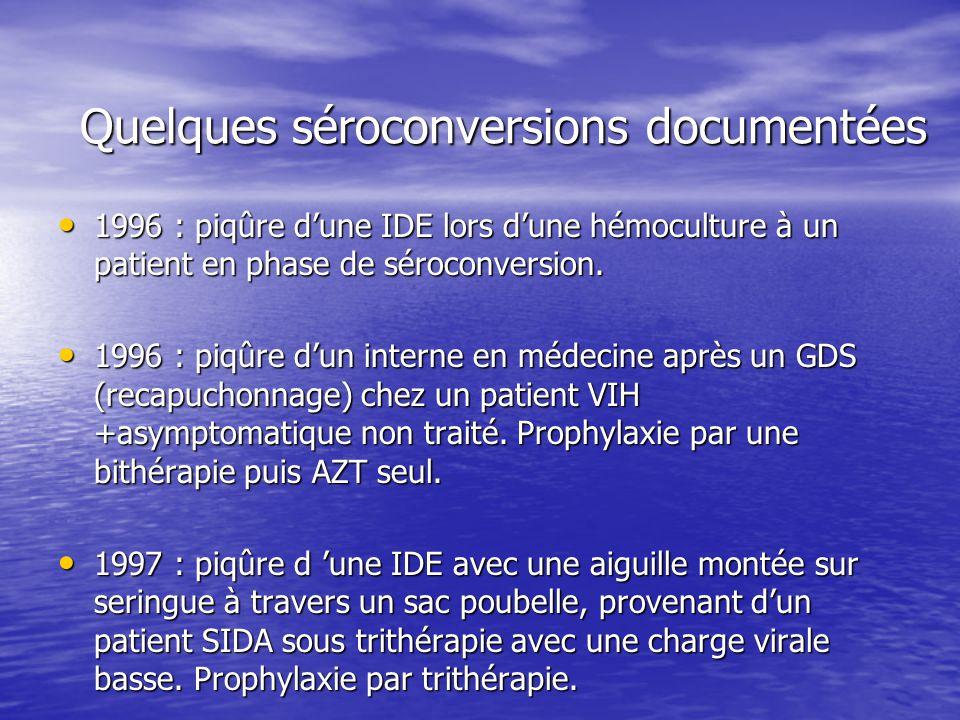 Quelques séroconversions documentées