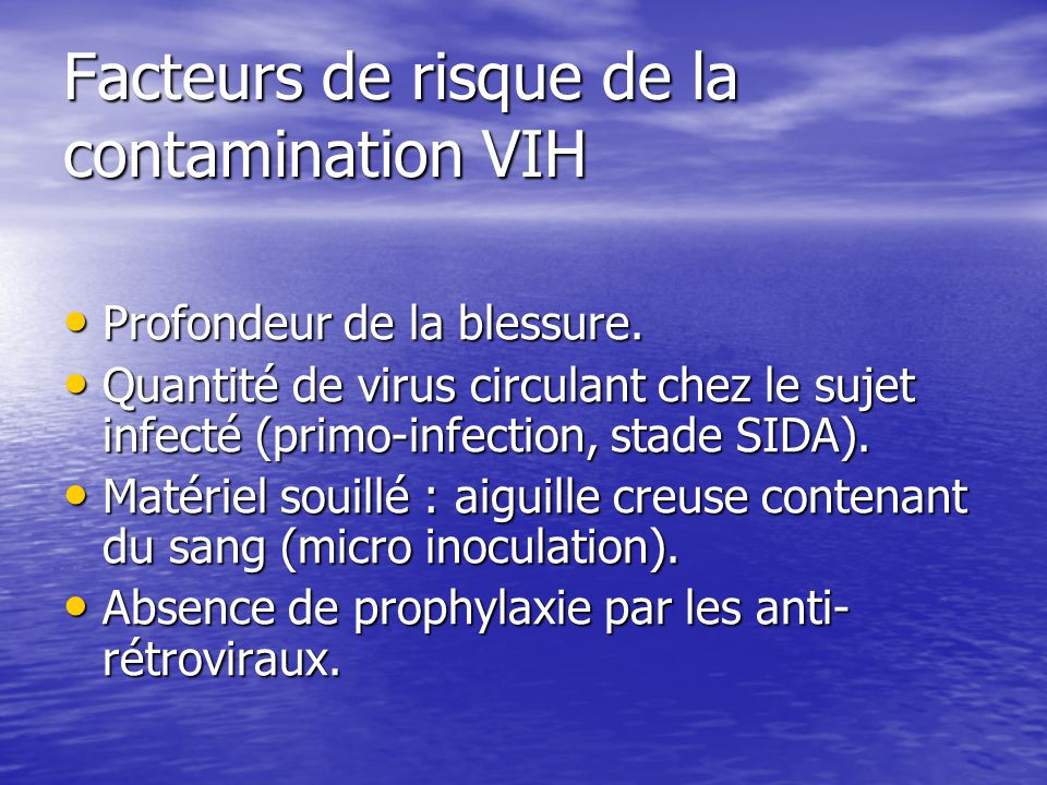 Facteurs de risque de la contamination VIH