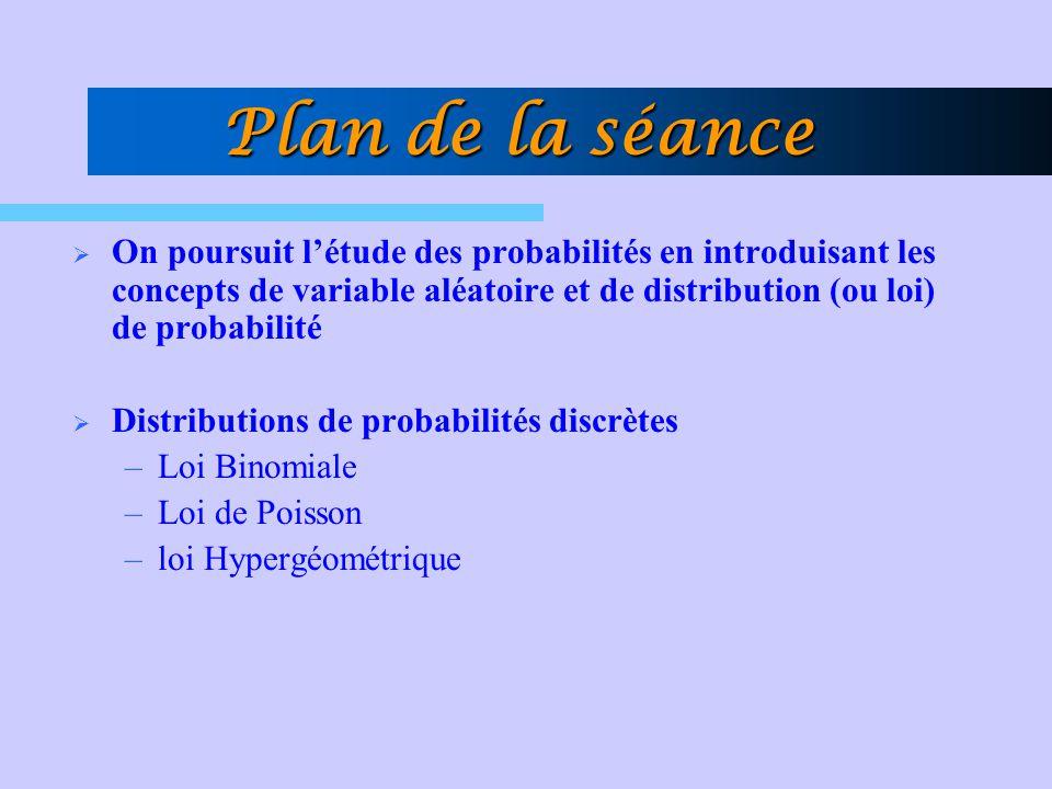 Plan de la séance On poursuit l'étude des probabilités en introduisant les concepts de variable aléatoire et de distribution (ou loi) de probabilité.