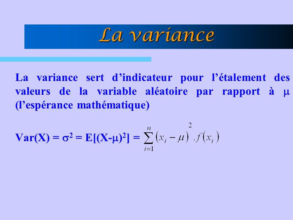 La variance La variance sert d'indicateur pour l'étalement des valeurs de la variable aléatoire par rapport à  (l'espérance mathématique)