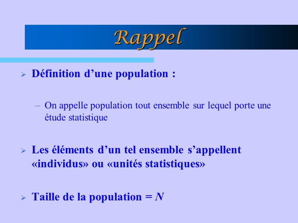 Rappel Définition d'une population :