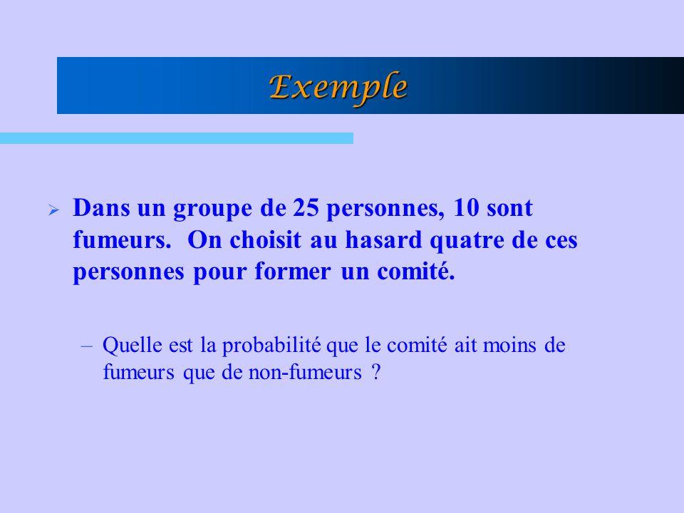 Exemple Dans un groupe de 25 personnes, 10 sont fumeurs. On choisit au hasard quatre de ces personnes pour former un comité.
