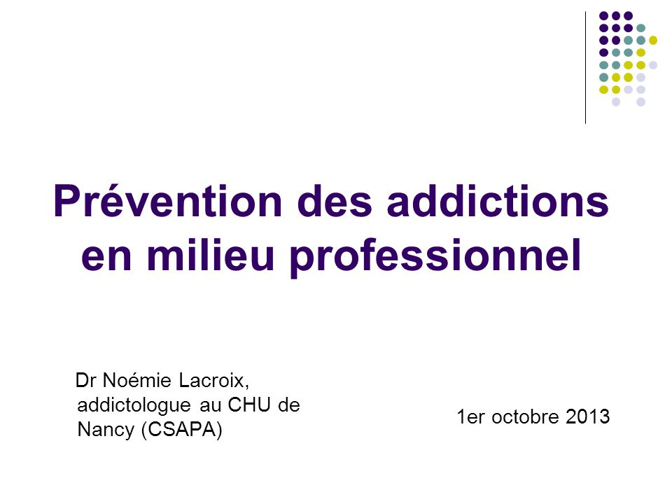 Prévention des addictions en milieu professionnel