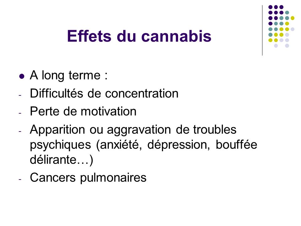 Effets du cannabis A long terme : Difficultés de concentration